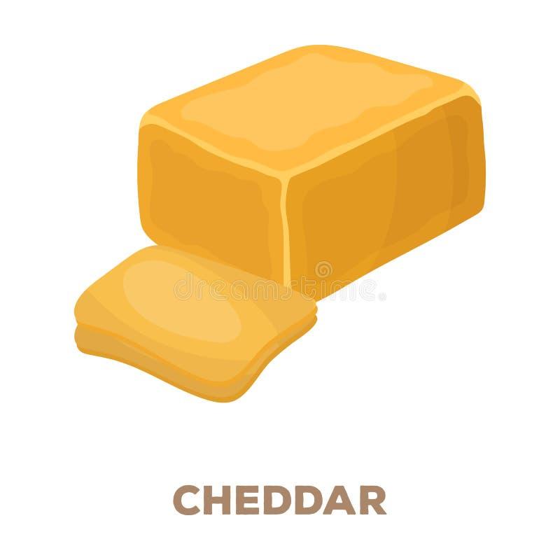 cheddar Olika sorter av den enkla symbolen för ost i tecknad film utformar rateren, rengöringsduk för illustration för bitmapsymb stock illustrationer