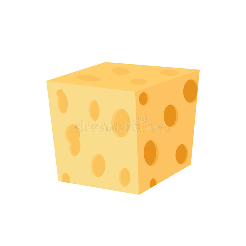 Cheddar, parmesan cheese. Dairy milky product. Made in flat style. stock illustration