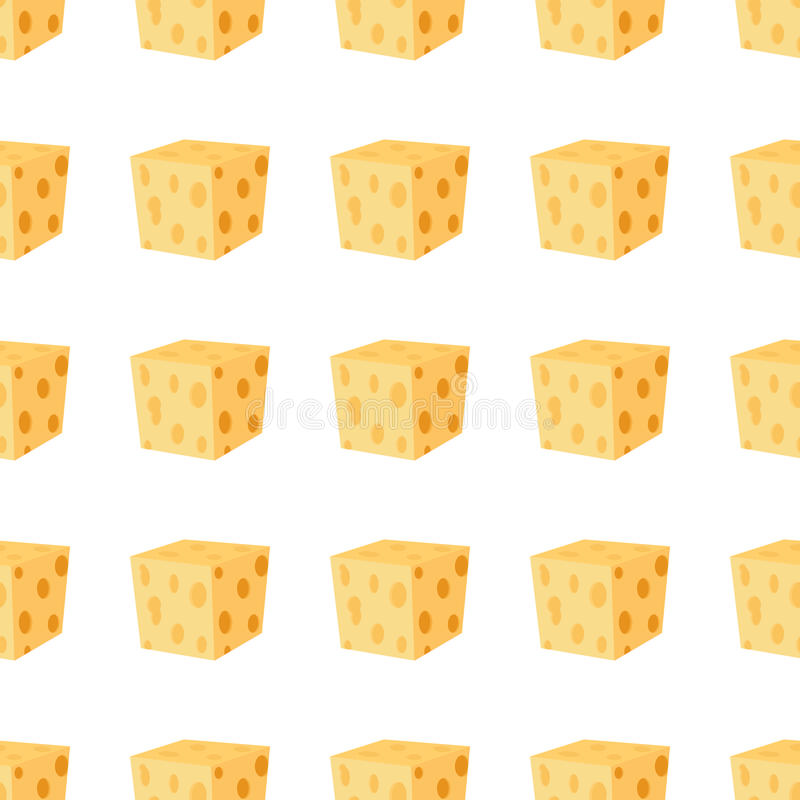 Cheddar, parmesan cheese seamless pattern. Dairy milky product. royalty free illustration