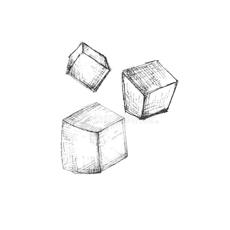 Cheddar skissar symbolen av ostmejeriprodukten som isoleras på vit bakgrund Kan användas för logoen, restaurangmenyn, recept royaltyfri illustrationer