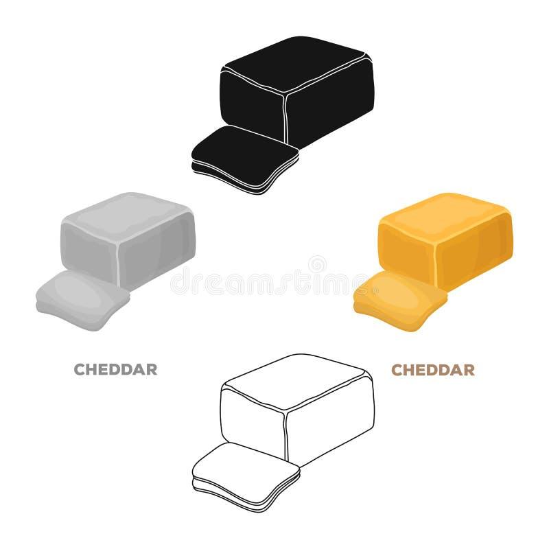 cheddar Tipos diferentes do ?nico ?cone do queijo nos desenhos animados, Web preta da ilustra??o do estoque do s?mbolo do vetor d ilustração stock