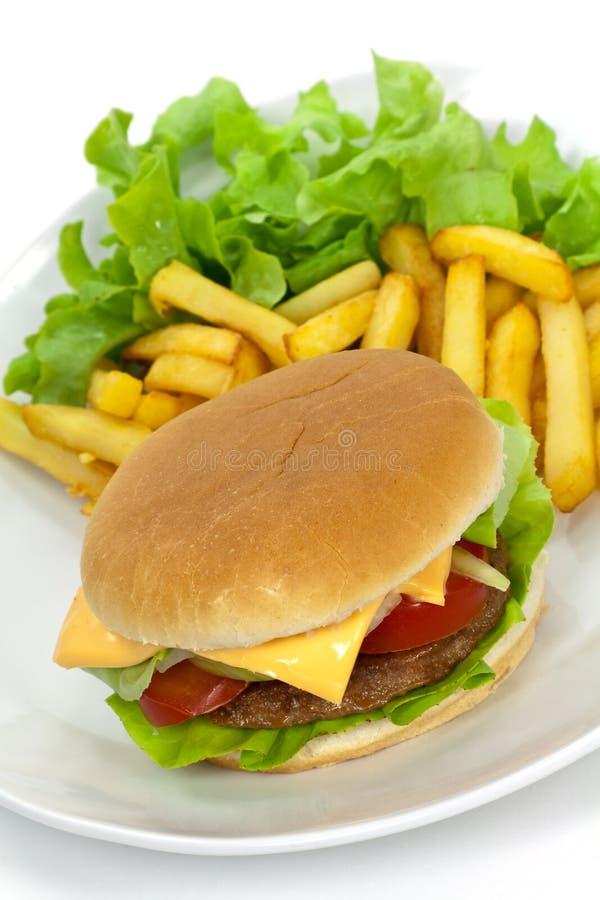 cheddaru hamburgeru sałaty pomidor fotografia royalty free