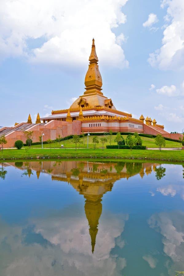 Chedi Maha Mongkol Bua, the golden pagoda landmark of Roi Et Province, northeastern Thailand.  stock image
