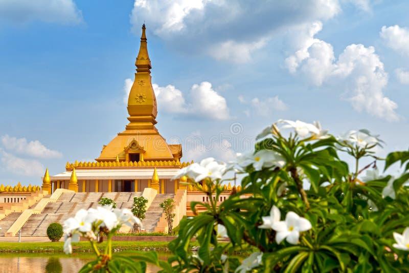 Chedi Maha Mongkol Bua, the golden pagoda landmark of Roi Et Province, northeastern Thailand.  royalty free stock images