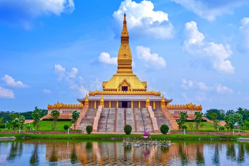 Chedi Maha Mongkol Bua, the golden pagoda landmark of Roi Et Province, northeastern Thailand.  royalty free stock photography