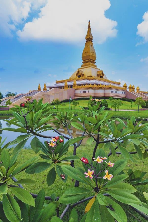 Chedi Maha Mongkol Bua, the golden pagoda landmark of Roi Et Province, northeastern Thailand.  royalty free stock photos