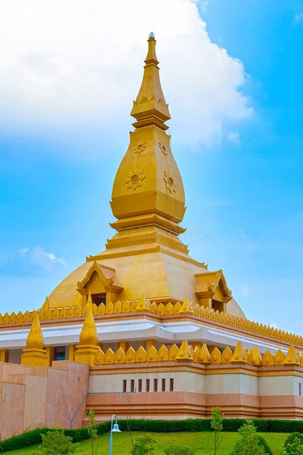 Chedi Maha Mongkol Bua, the golden pagoda landmark of Roi Et Province, northeastern Thailand.  stock photography