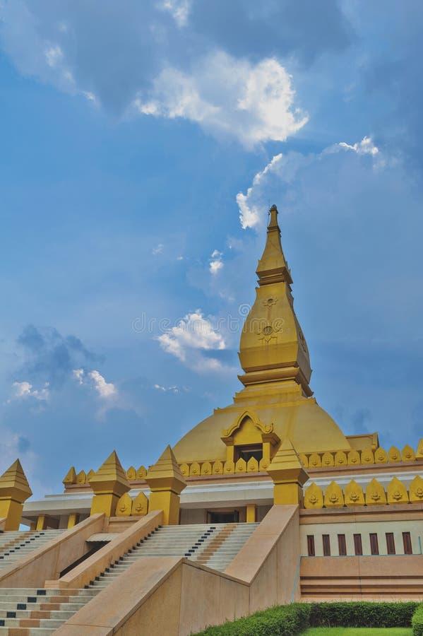 Chedi Maha Mongkol Bua, the golden pagoda landmark of Roi Et Province, northeastern Thailand.  royalty free stock image