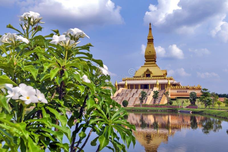 Chedi Maha Mongkol Bua, the golden pagoda landmark of Roi Et Province, northeastern Thailand.  stock images
