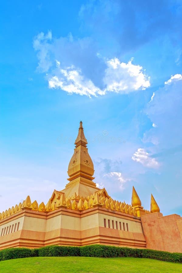 Chedi Maha Mongkol Bua, the golden pagoda landmark of Roi Et Province, northeastern Thailand.  stock photo