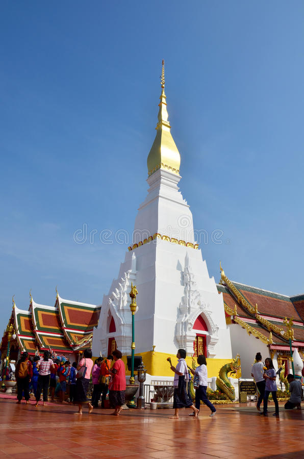 Chedi of Phra That Choeng Chum temple for Thai people and travel. Er visit and pray on January 16, 2016 in Sakon Nakhon, Thailand royalty free stock photos