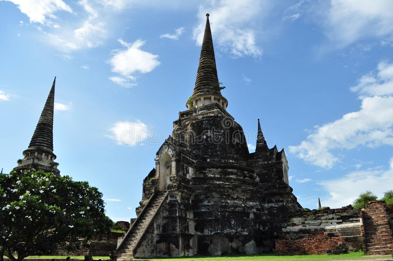 Chedis of Wat Phra Sri Sanphet with clear sky royalty free stock photography