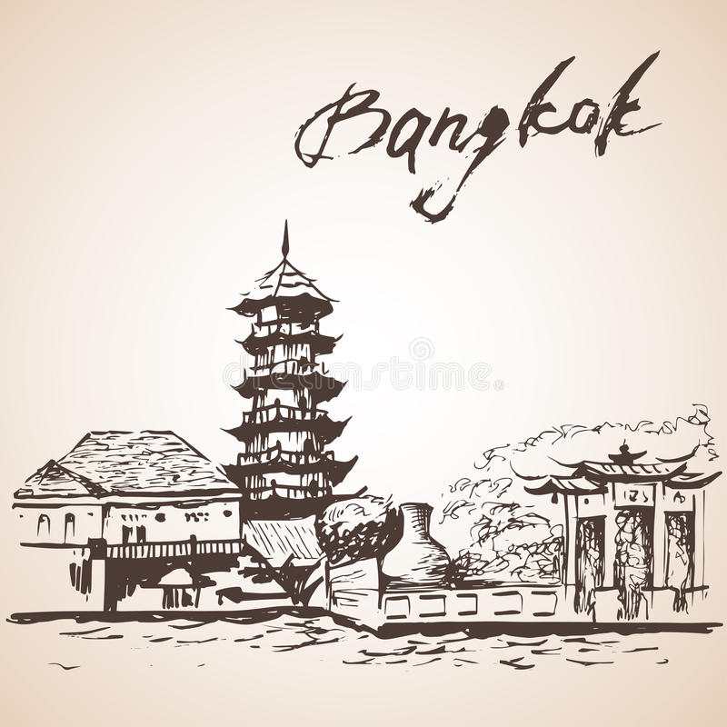Chee podbródek Kora Bangkok, Tajlandia ilustracja wektor