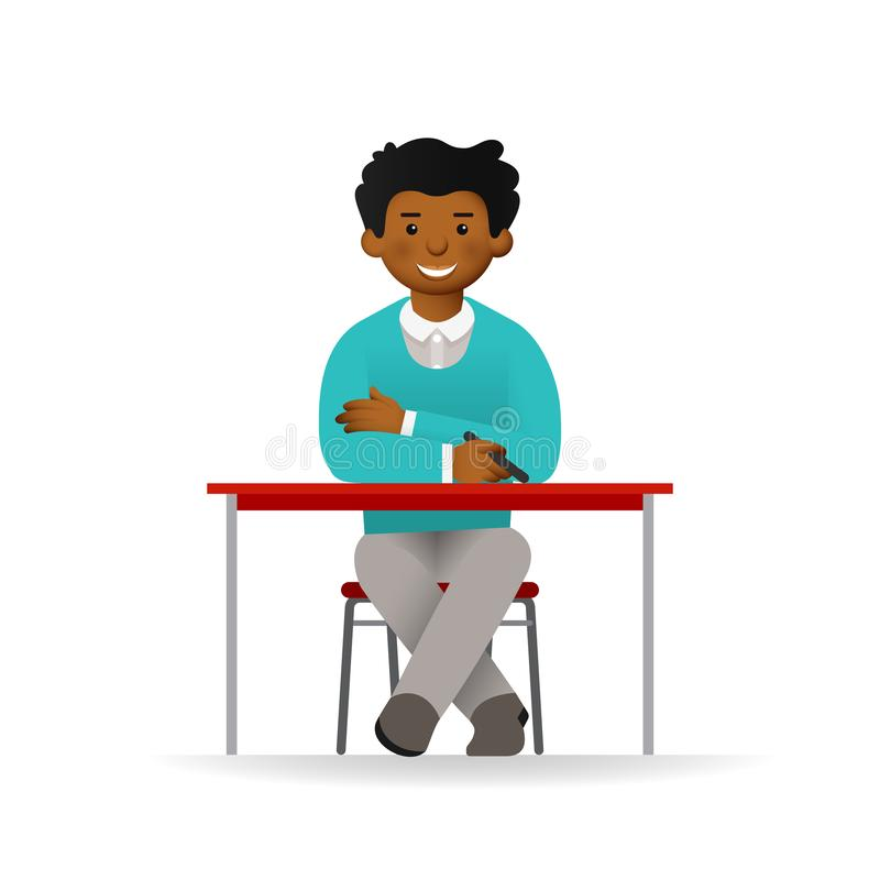 Cheeky african man in sweater and shirt posing. Sitting at table.  vector illustration