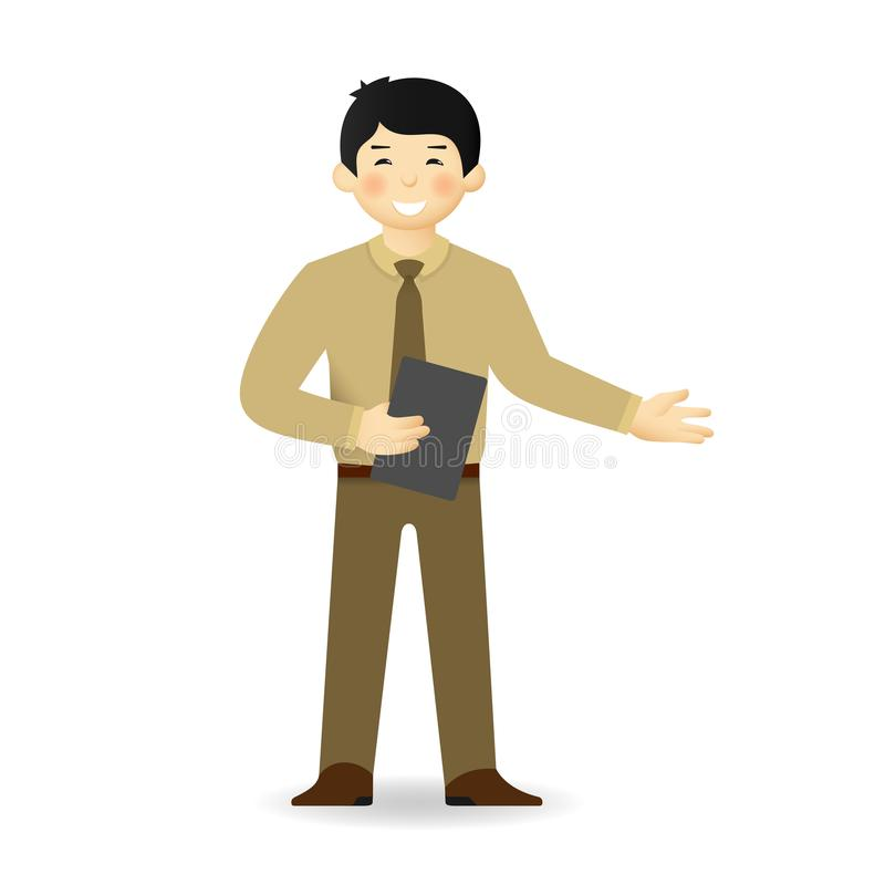 Cheeky asian man in business suit posing. Explaining pose.  royalty free illustration