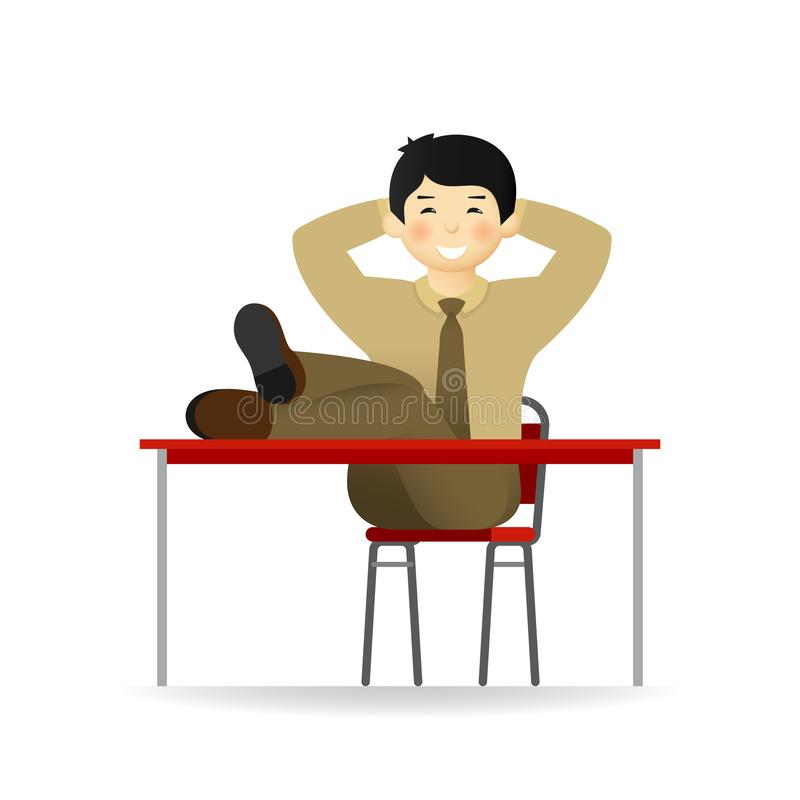Cheeky asian man in business suit posing. Put feet on table.  royalty free illustration