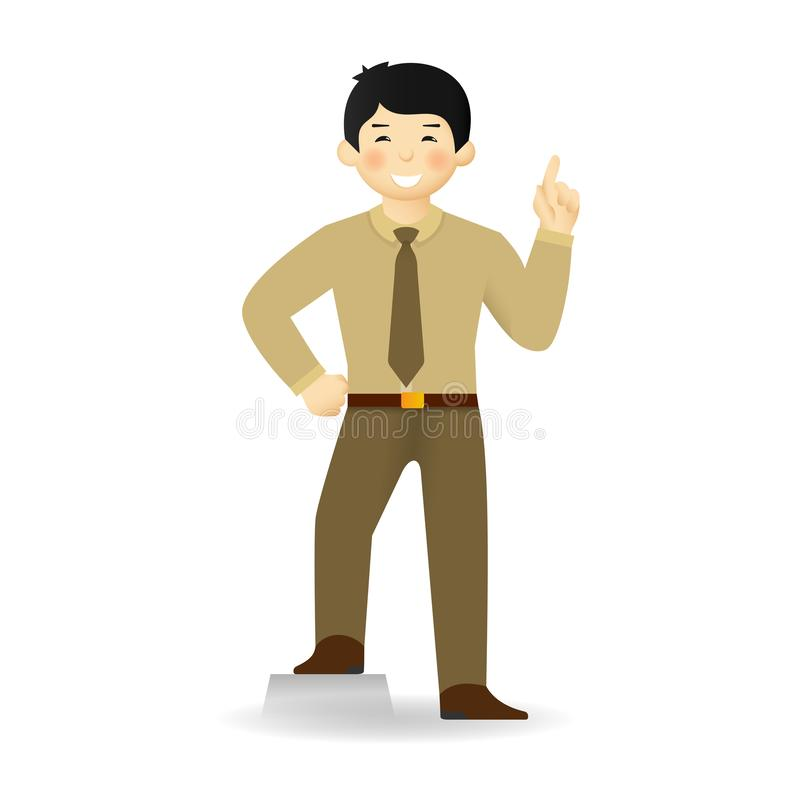 Cheeky asian man in sweater and shirt posing. Attention gesture.  stock illustration