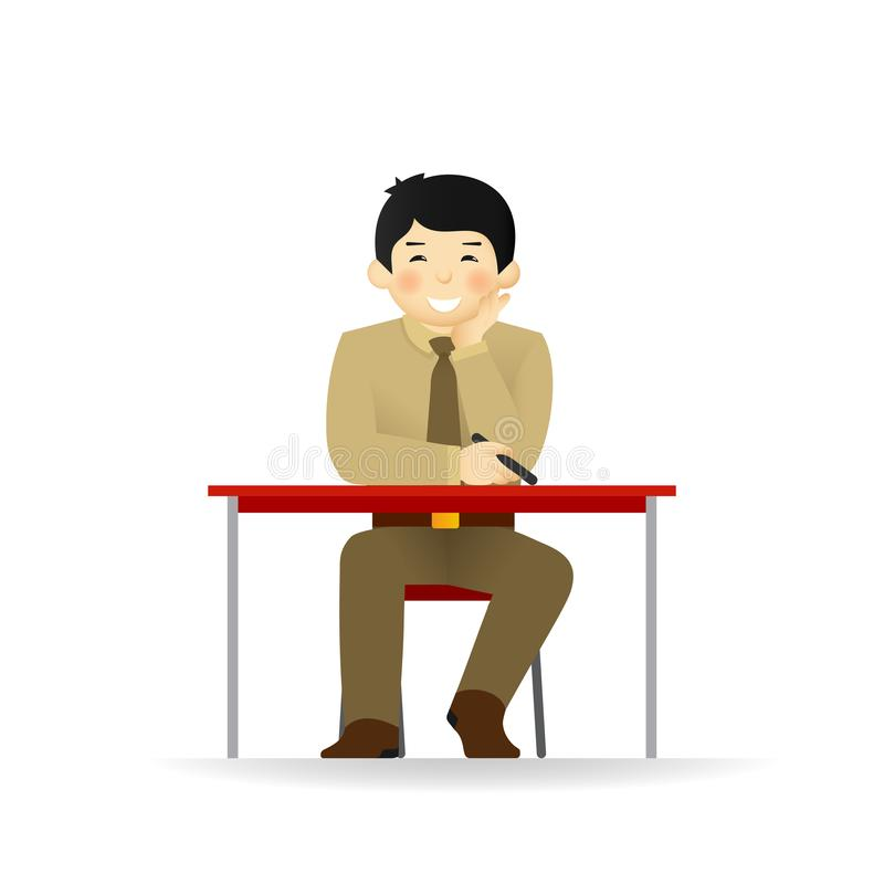 Cheeky asian man in sweater and shirt posing. Sitting at table.  royalty free illustration