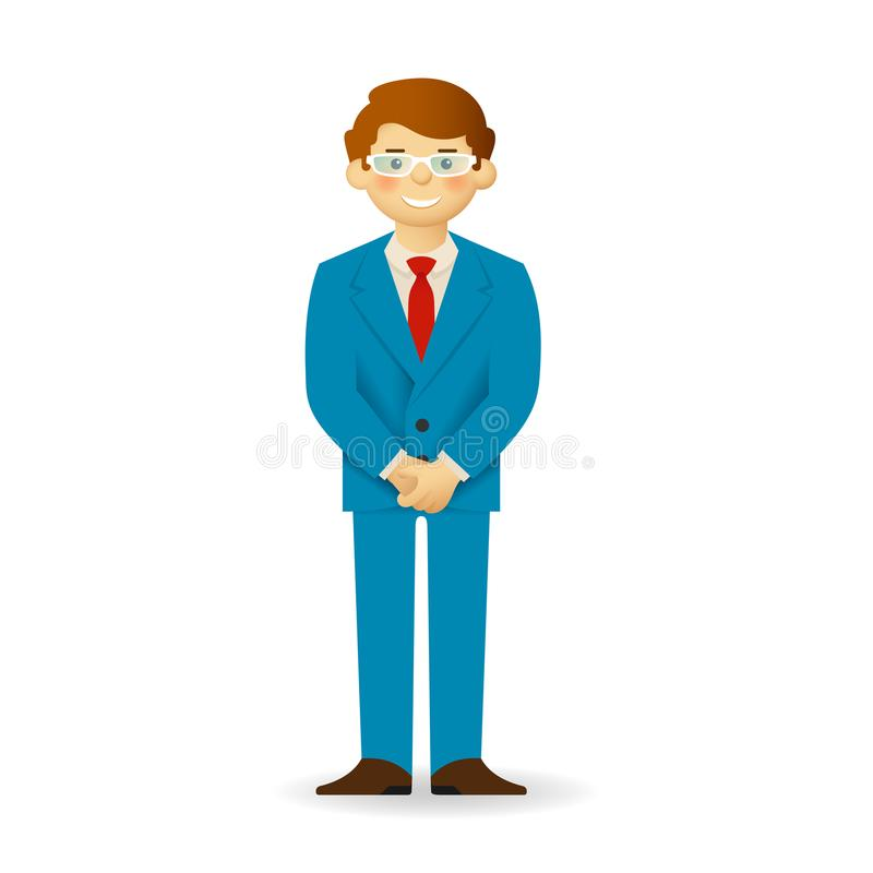 Cheeky caucasian man in business suit posing. Closed posture. Cheeky caucasian man in business suit posing. Closed posture royalty free illustration