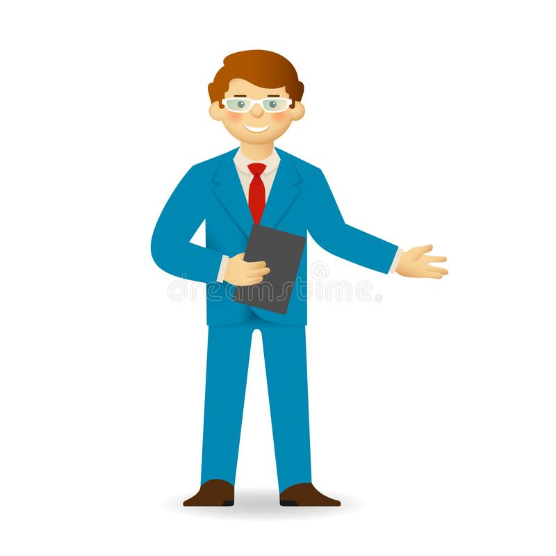 Cheeky caucasian man in business suit posing. Pointing gesture.  stock illustration