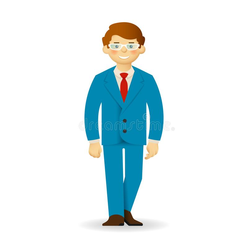Cheeky caucasian man in business suit posing. Walking forward. Cheeky caucasian man in business suit posing. Walking forward stock illustration
