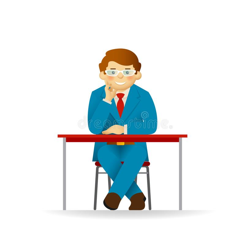 Cheeky caucasian man in sweater and shirt posing. Sitting at table. Cheeky caucasian man in sweater and shirt posing. Sitting at table vector illustration