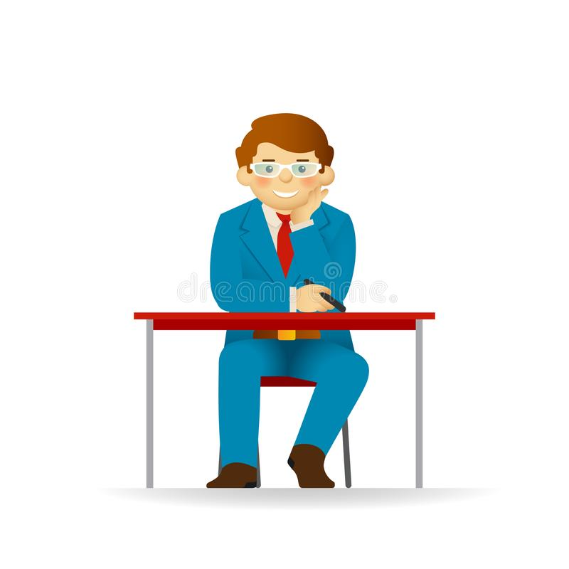 Cheeky caucasian man in sweater and shirt posing. Sitting at table and listening.  stock illustration