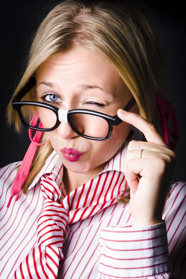 Download Secretive Nerd Misleading With A Wink Of Deceit Stock Image - Image: 29721515