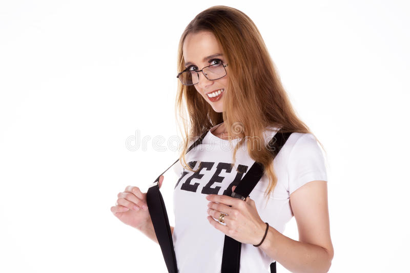 Cheeky Geeky woman stock images
