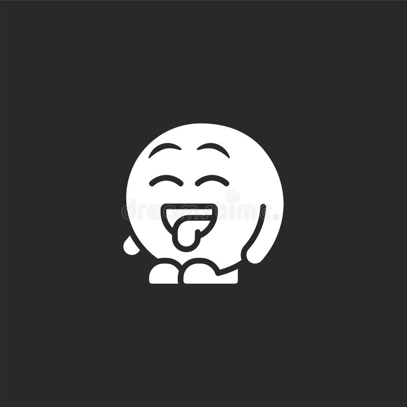 Cheeky icon. Filled cheeky icon for website design and mobile, app development. cheeky icon from filled emoji people collection. Isolated on black background royalty free illustration