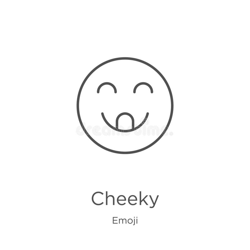 Cheeky icon vector from emoji collection. Thin line cheeky outline icon vector illustration. Outline, thin line cheeky icon for. Cheeky icon. Element of emoji stock illustration