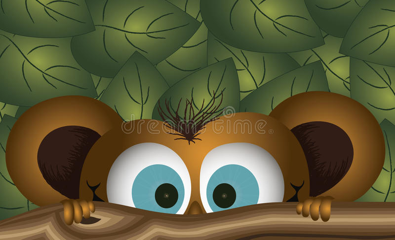 Cheeky monkey. The face of a cheeky looking monkey with bright blue eyes peering over a branch with green leaves behind him vector illustration