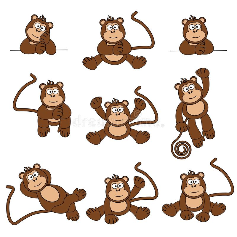 Cheeky Monkey. Illustration set of 9 cute and cheeky monkeys stock illustration