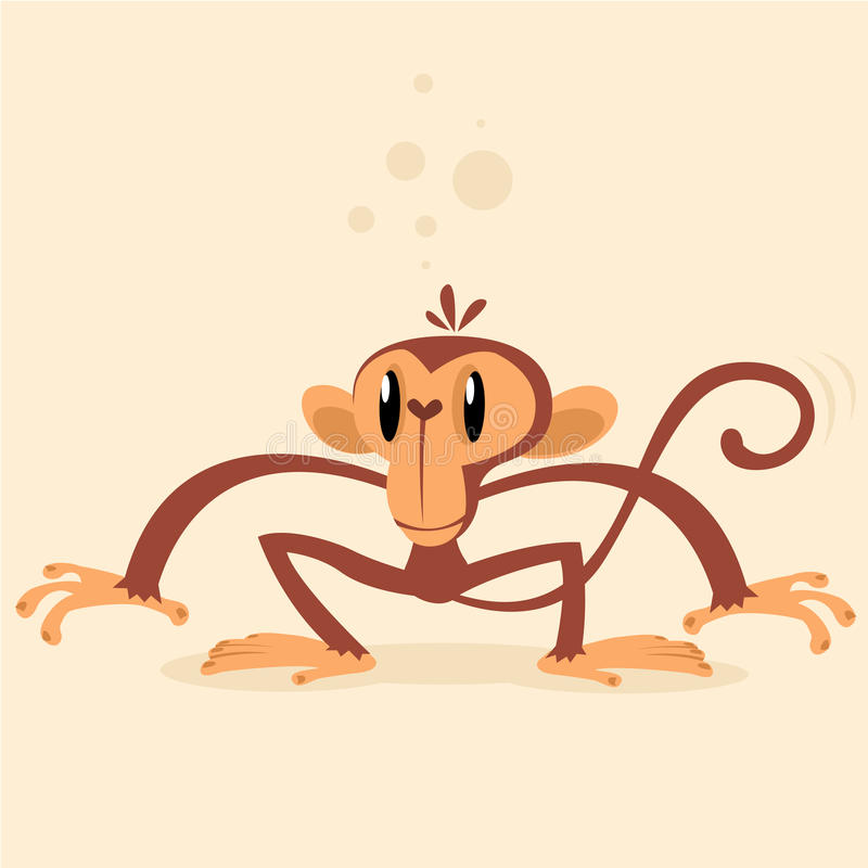 Cheeky Monkey Character. Vector mascot. Isolated on light background stock illustration