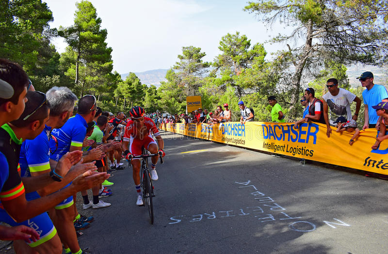 Cheered On By The Crowd La Vuelta España Cycle Race. The crowd applauding riders near the mountain top finish in the 2017 La Vuelta Espana bike race stock photography