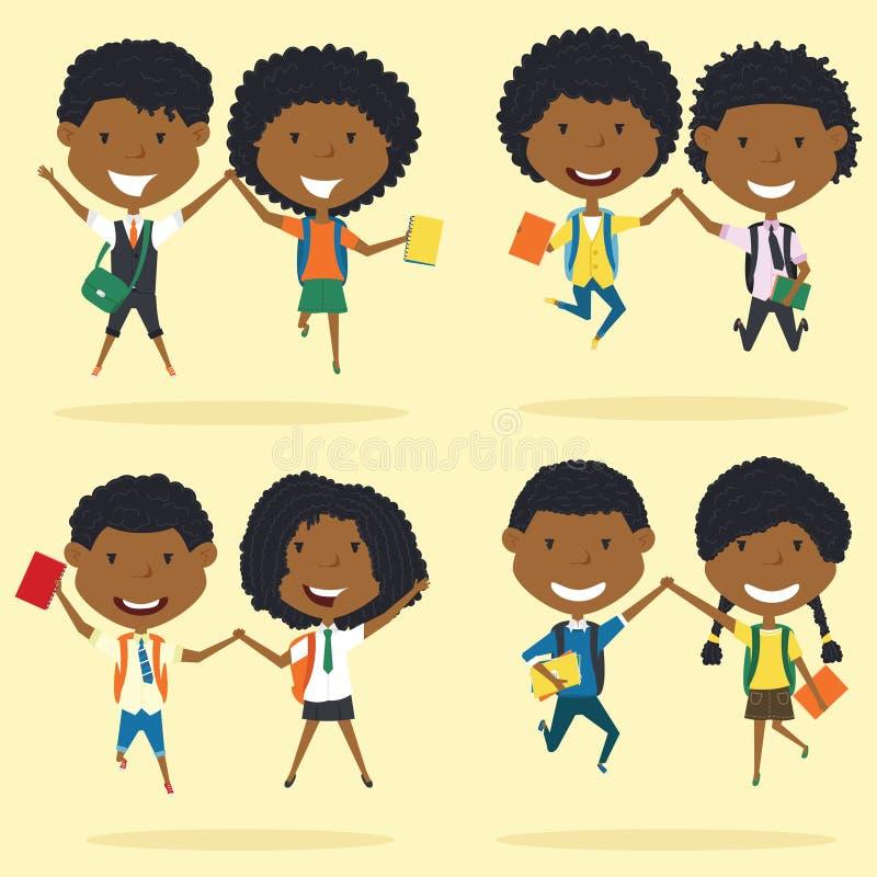 Cheerfu非洲人Americanl年轻男孩和女孩做一个跃迁 皇族释放例证