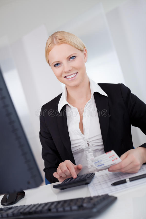 Cheerful accountant businesswoman royalty free stock images