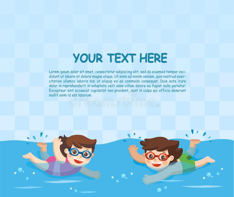 Little Boy and Girl swimming in the swimming pool. Cheerful and active little Boy and Girl swimming in the swimming pool. Template for advertising brochure vector illustration