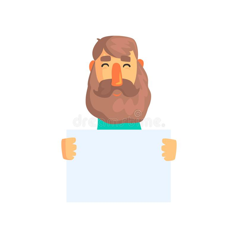 Cheerful adult man holding blank sign for your message. Cartoon male character with brown hair and beard. Empty template vector illustration