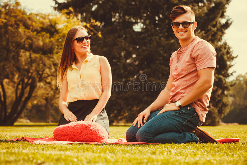 Cheerful affectionate couple on picnic. royalty free stock photo