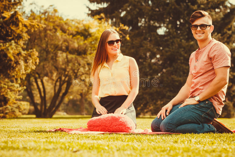 Cheerful affectionate couple on picnic. royalty free stock image