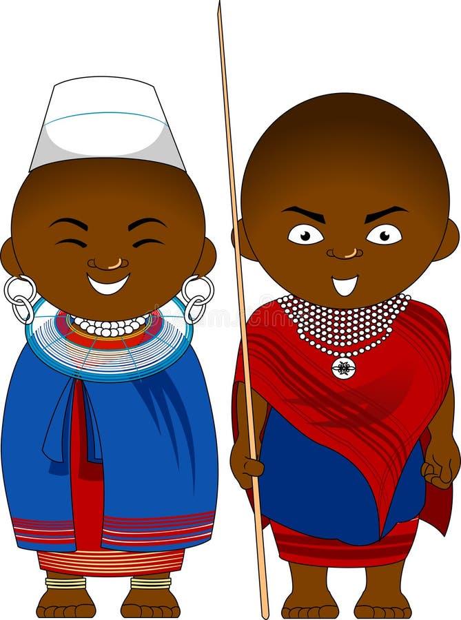 Cheerful african couple from Tanzania Masai vector illustration