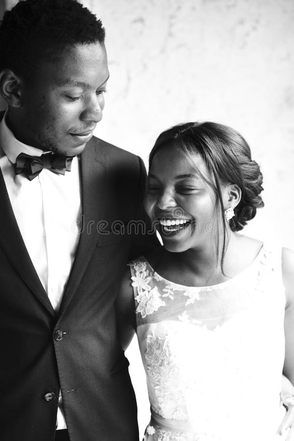 Cheerful African Descent Bride Groom Together stock photography