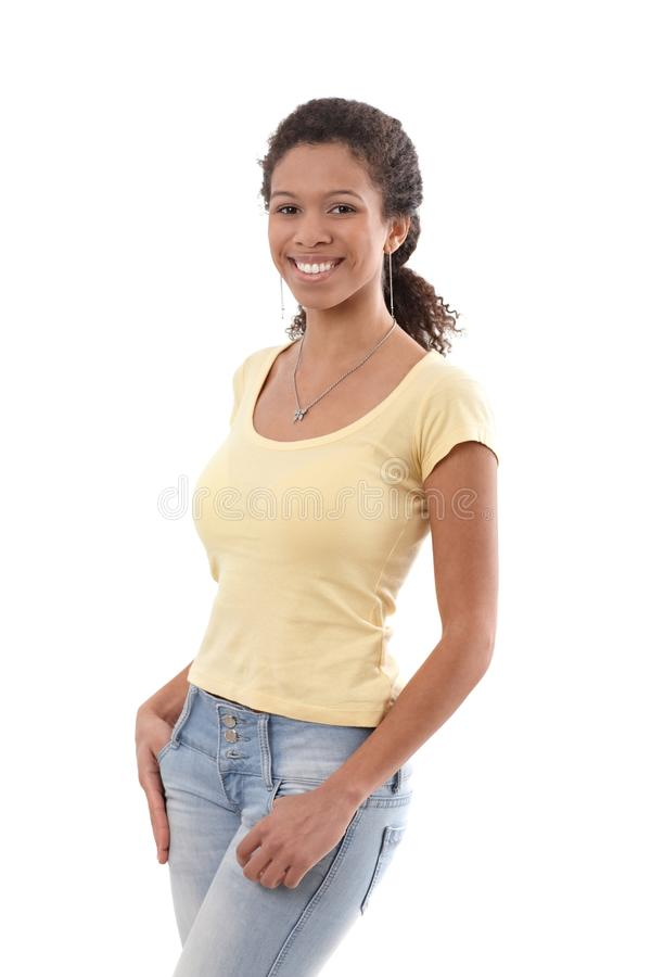 Download Cheerful Afro Woman In T-shirt And Jeans Stock Image - Image: 24589867