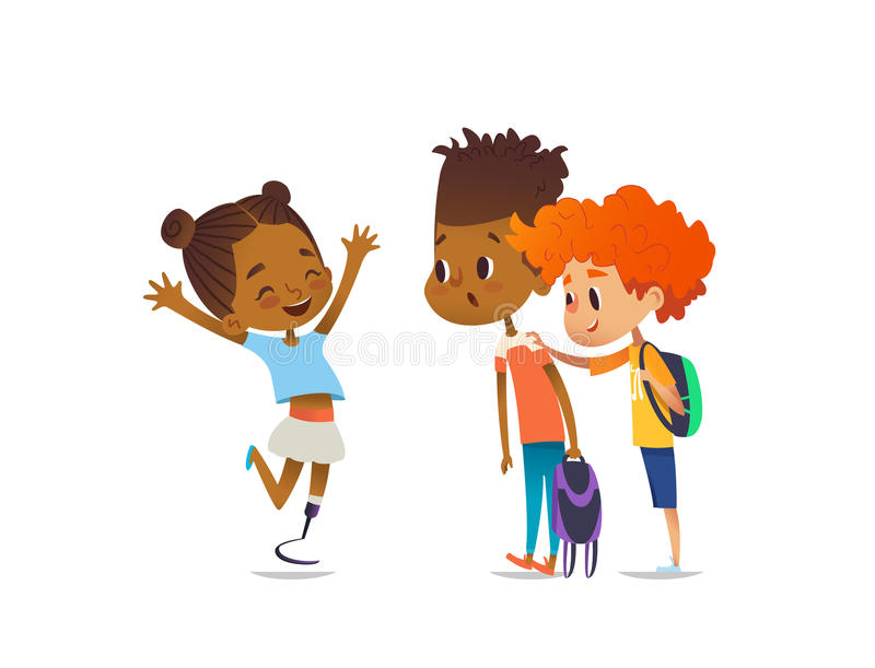 Cheerful amputee girl happily greet her school friends and shows them new artificial leg, two boys are surprised and. Happy. Welcome back concept. Vector royalty free illustration