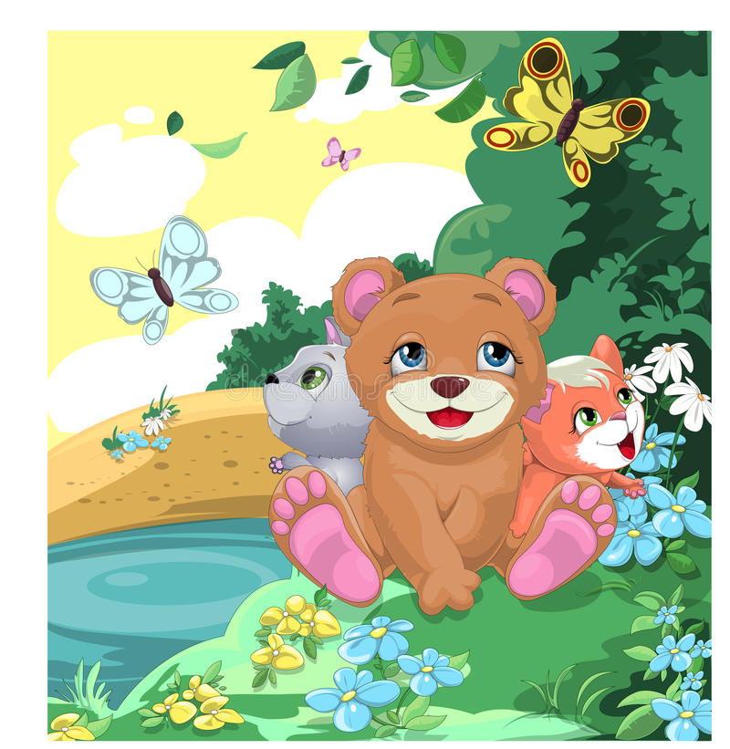 Cheerful animals. Animals sitting on a glade and looking at butterflies royalty free illustration