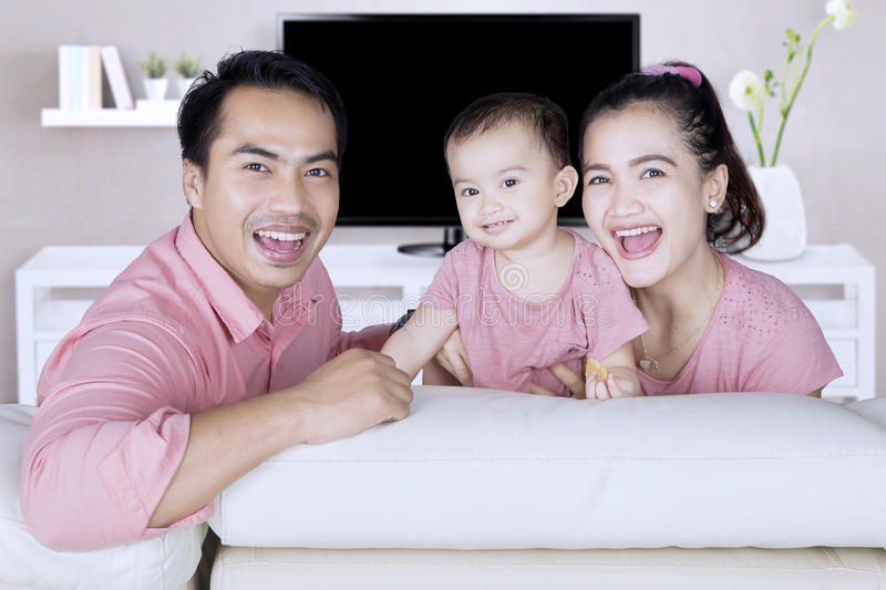 Cheerful Asian Family Sitting In Living Room Stock Image - Image of ...