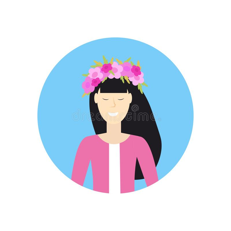 Cheerful asian woman face avatar girl in wreath of flowers caucasian female cartoon character portrait white background stock illustration