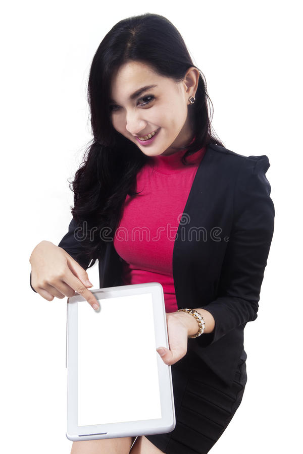 Cheerful asian woman showing digital tablet 2 stock images