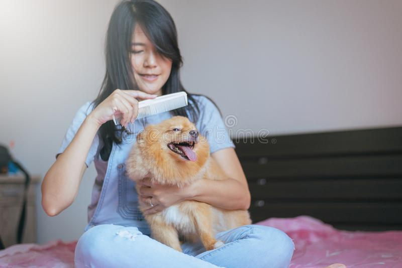 Teen girl home with her k9